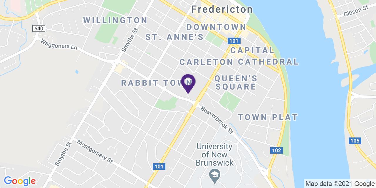 Map to: Fredericton, Latitude: 45.954130 Longitude: -66.64682