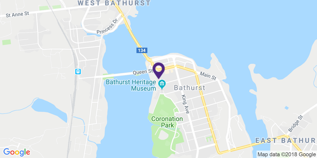 Carte à: Bathurst, Latitude: 47.619337 Logitude: -65.656667