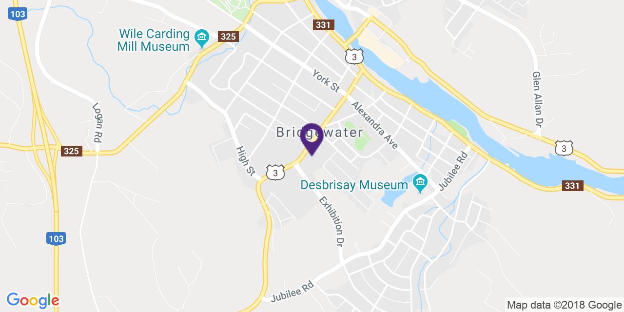 Carte à: Bridgewater, Latitude: 44.370592 Logitude: -64.521482