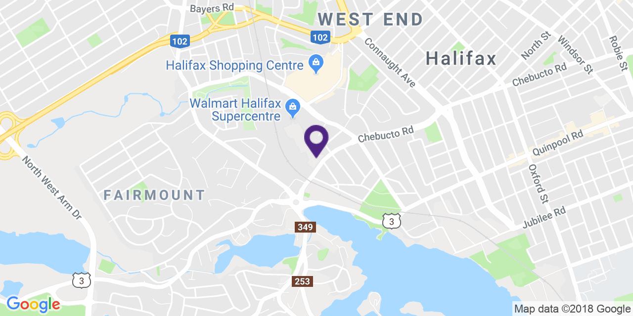 Carte à: Halifax, Latitude: 44.644326 Logitude: -63.61864