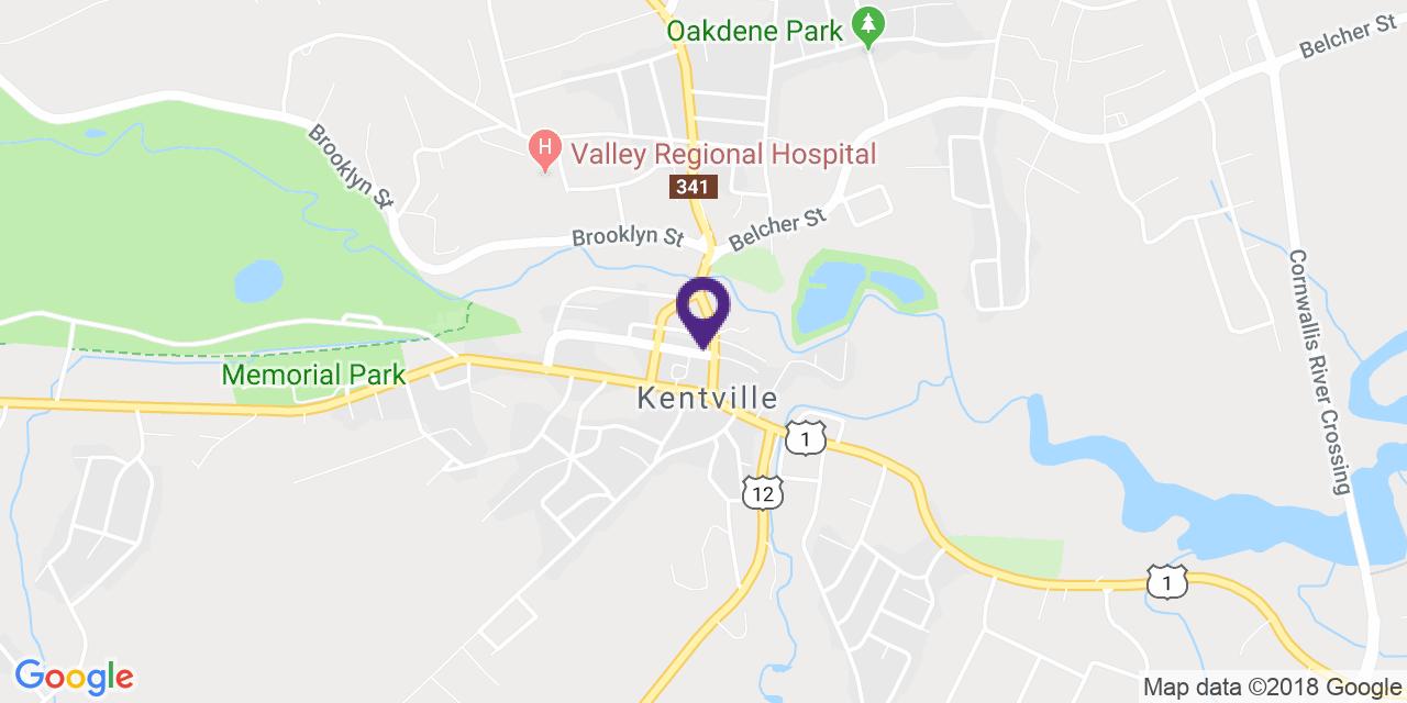 Carte à: Kentville, Latitude: 45.078189 Logitude: -64.494637