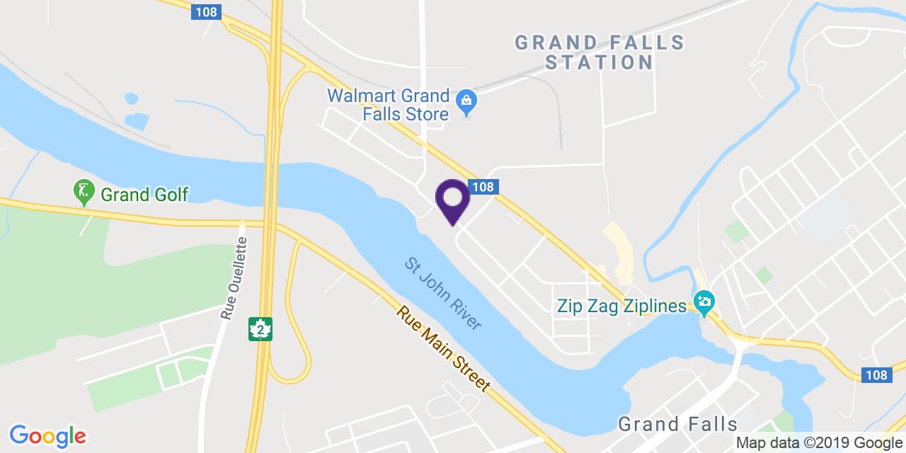 Carte à: Grand-Sault, Latitude: 47.056129 Logitude: -67.75354001