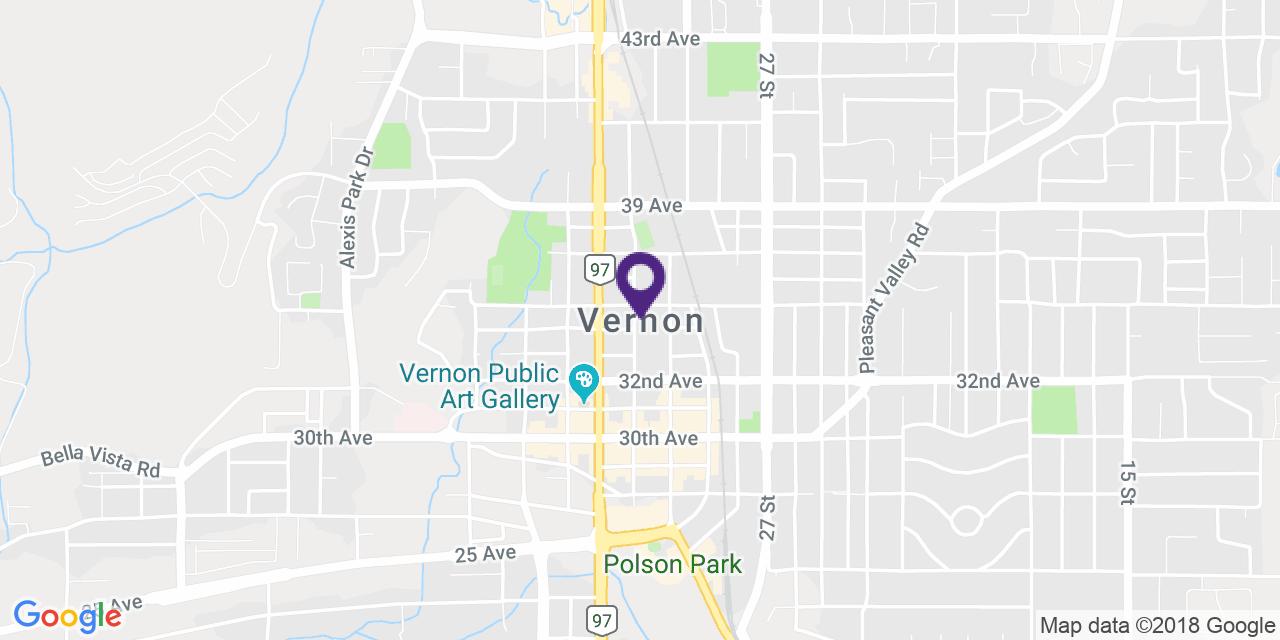Carte à: Vernon, Latitude: 50.267014 Logitude: -119.272011