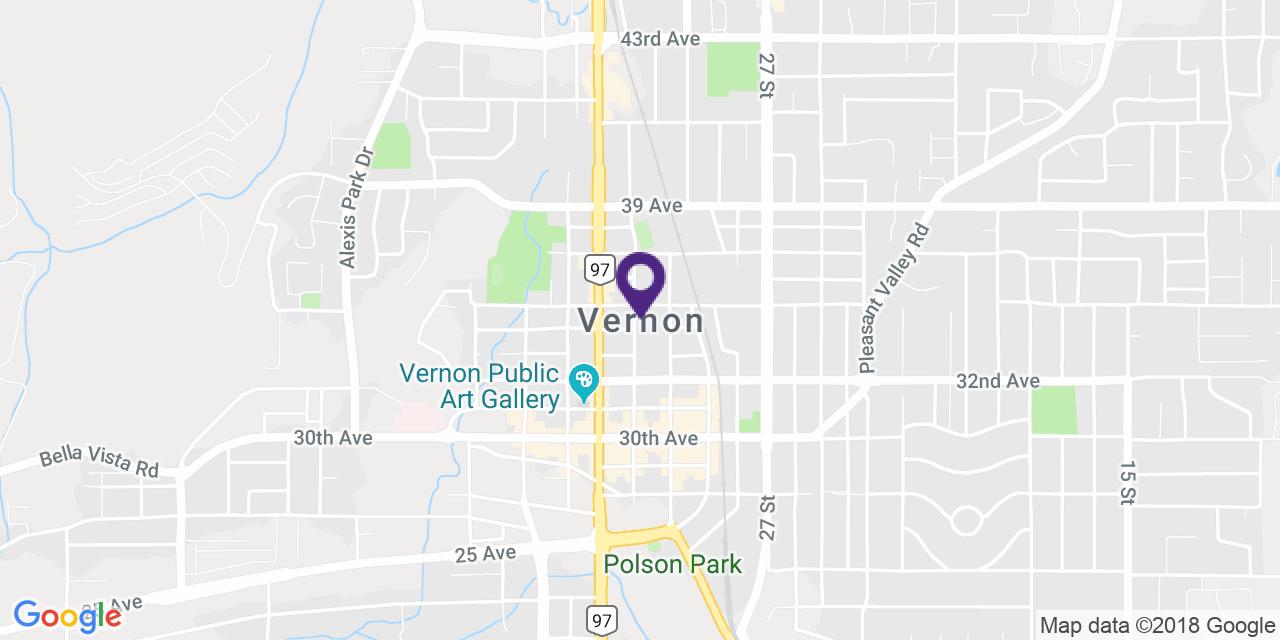 Map to: Vernon, Latitude: 50.267014 Longitude: -119.272011