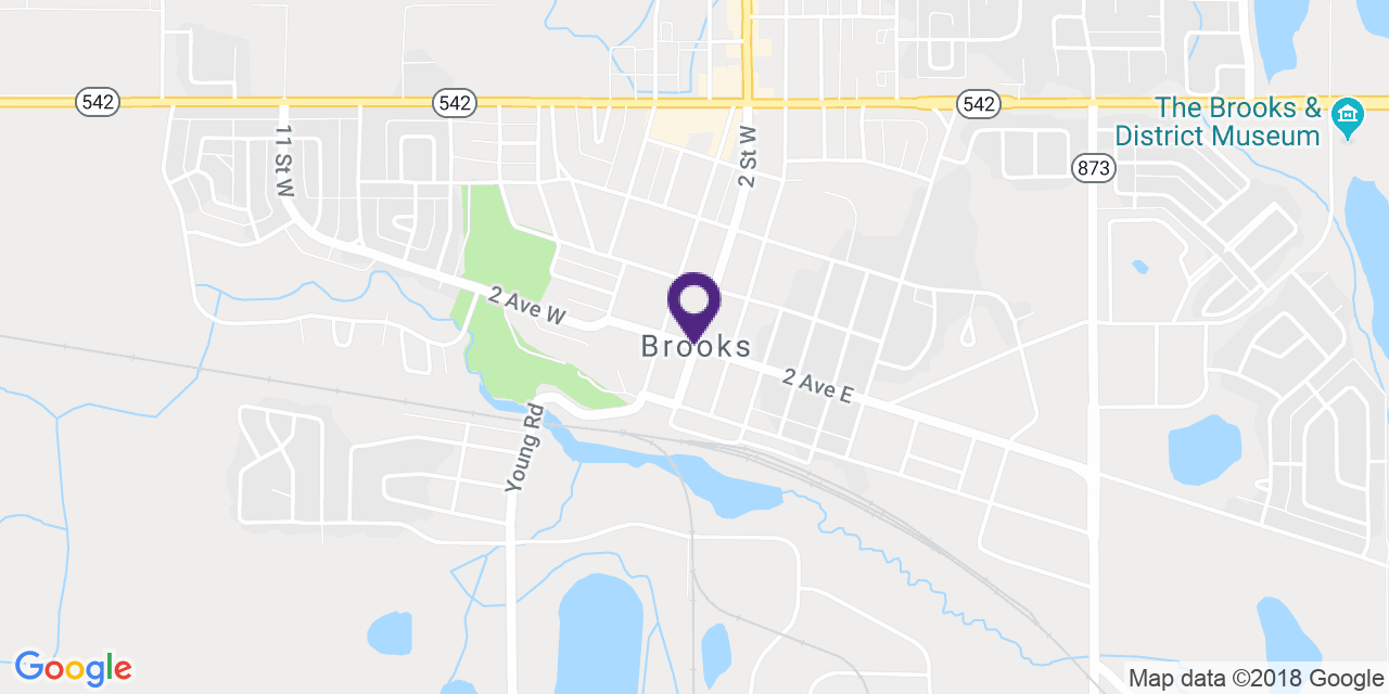 Carte à: Brooks, Latitude: 50.565975 Logitude: -111.899167