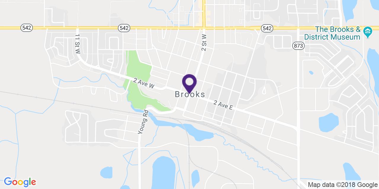 Map to: Brooks, Latitude: 50.565975 Longitude: -111.899167