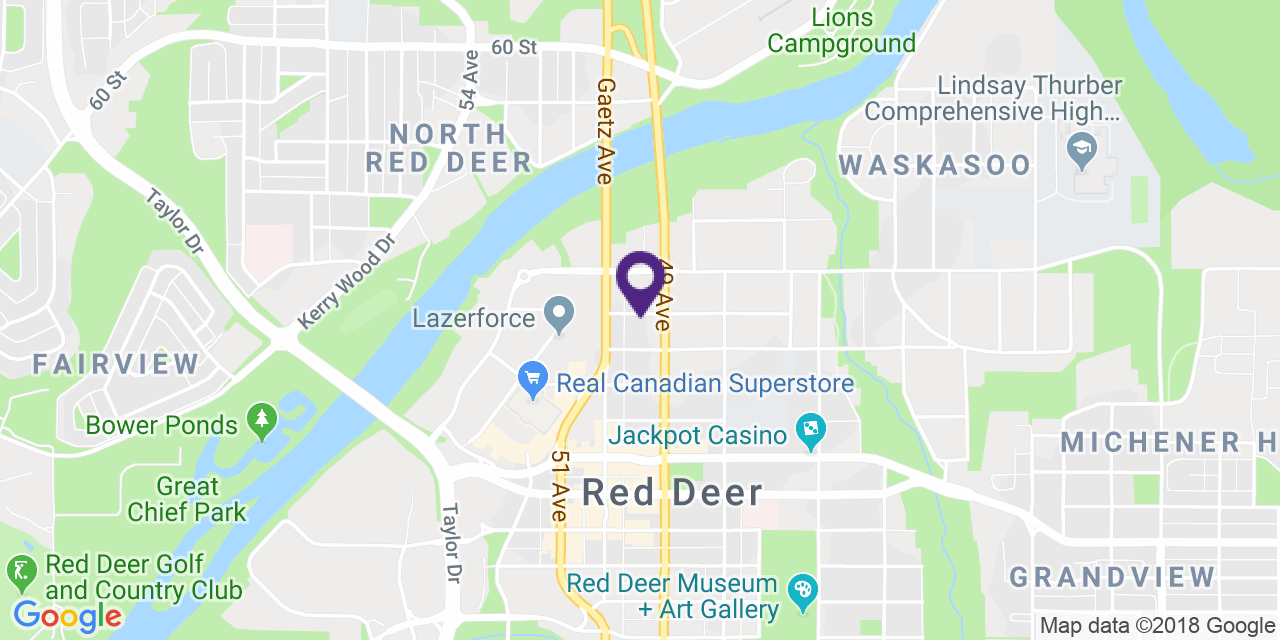 Carte à: Red Deer, Latitude: 52.272643 Logitude: -113.812569