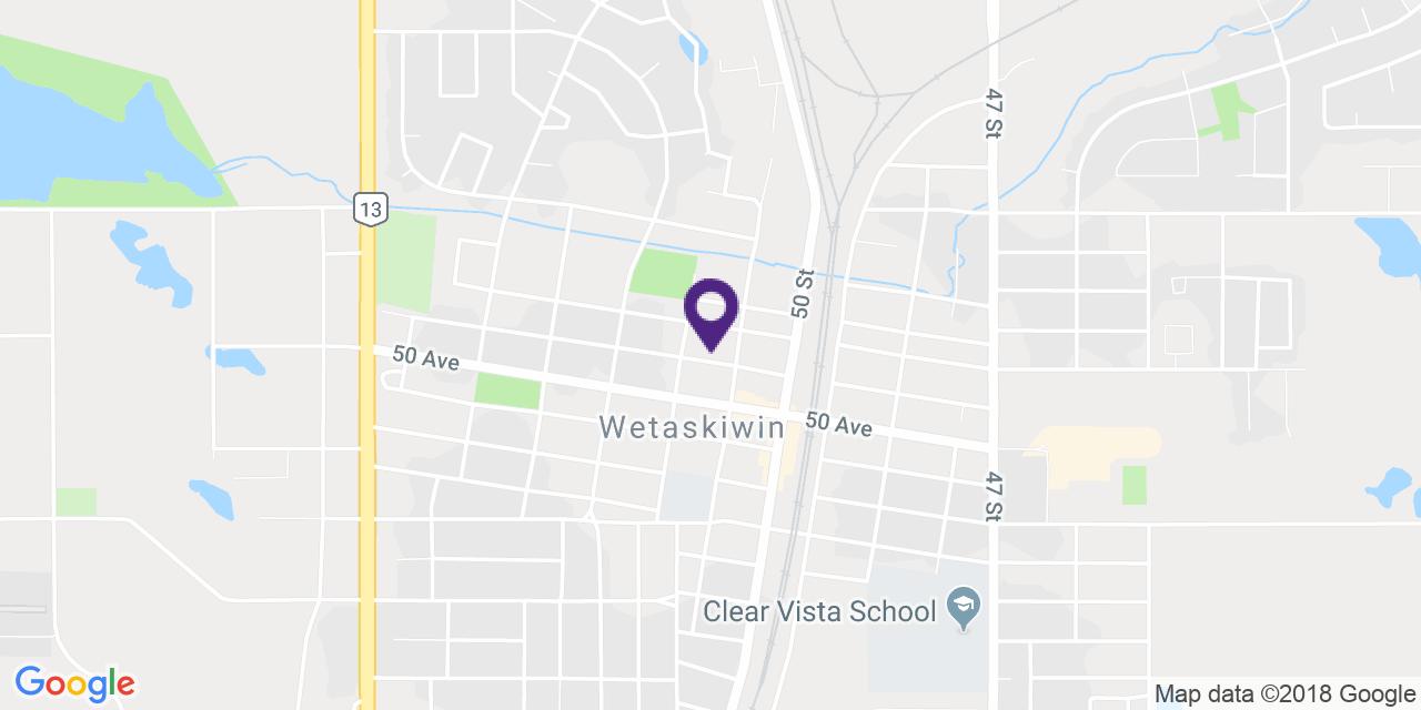 Carte à: Wetaskiwin, Latitude: 52.970999 Logitude: -113.376896