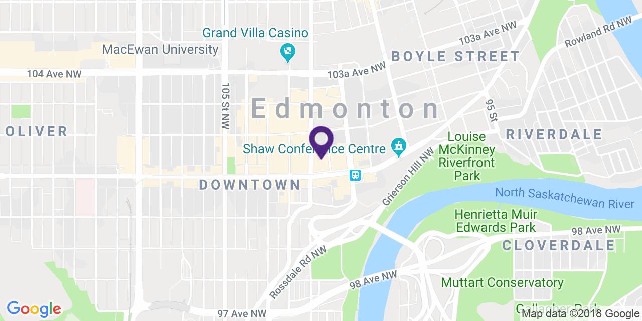 Carte à: Edmonton, Centre-Ville, Latitude: 53.541751 Logitude: -113.492852