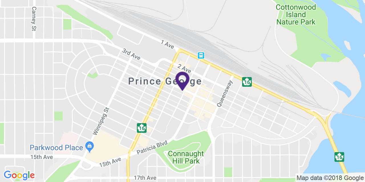 Map to: Prince George, Latitude: 53.916168 Longitude: -122.746985