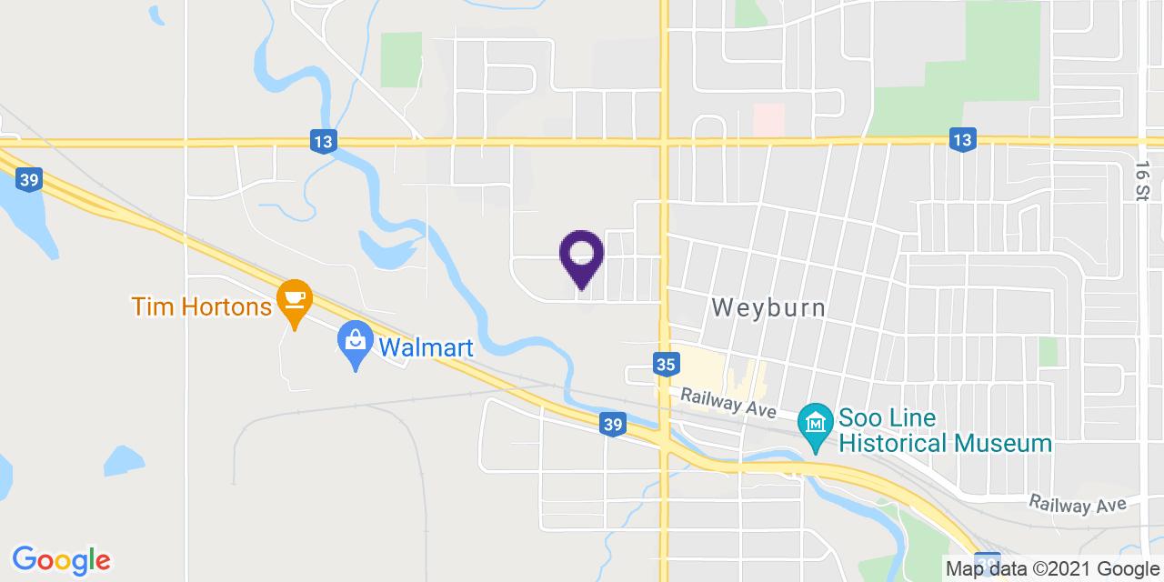 Map to: Weyburn, Latitude: 49.663770 Longitude: -103.86208